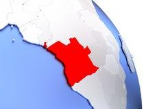 L'Angola sur le globe élégant Image stock