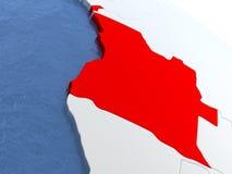 L'Angola sur le globe Images libres de droits