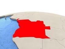 L'Angola sur le globe avec les mers aqueuses Photographie stock