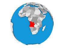 L'Angola sur le globe d'isolement Photographie stock