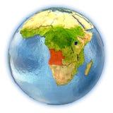 L'Angola sur le globe d'isolement Images libres de droits