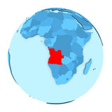 L'Angola sur le globe d'isolement Photos libres de droits