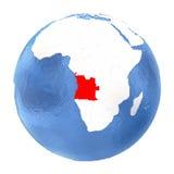 L'Angola sur le globe d'isolement sur le blanc Image libre de droits