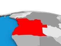 L'Angola sur le globe en rouge Images libres de droits