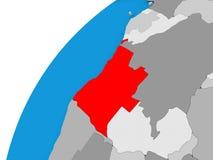 L'Angola sur le globe en rouge Images stock
