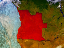 L'Angola sur le globe illustré Photos libres de droits