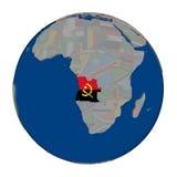 L'Angola sur le globe politique Image stock