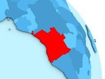 L'Angola sur le globe politique bleu Images libres de droits