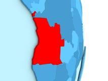 L'Angola sur le globe politique bleu Image libre de droits