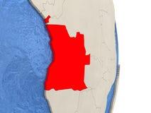 L'Angola sur le modèle du globe politique Image libre de droits