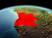 L'Angola sur terre de planète dans l'espace illustration libre de droits