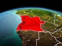 L'Angola sur terre de planète dans l'espace illustration stock