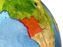 L'Angola sur terre en rouge Images libres de droits