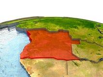 L'Angola sur terre en rouge Image stock