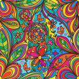L'angolo del fiore collega l'uccello variopinto gode del modello dei seamles royalty illustrazione gratis