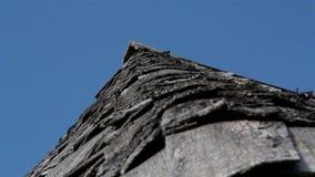 L'angolo del tetto di legno di scossa dell'assicella del vecchio cedro della casa archivi video