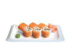 l'anguille d'avocat roule les sushi saumonés Image libre de droits