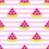 L'anguria affetta il modello rosa senza cuciture su bianco illustrazione vettoriale
