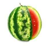 L'anguria matura della frutta con il taglio è isolata Fotografia Stock