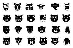 L'animal fait face aux icônes 2 de vecteur illustration stock