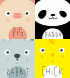 L'animal muselle le porc, panda, lapin, poussin Photo libre de droits