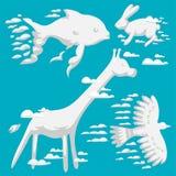 L'animal opacifie l'ornement wilding naturel de bête d'environnement de bande dessinée de ciel d'abrégé sur illustration de vecte Photos libres de droits