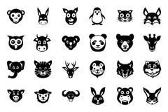 L'animale affronta le icone 1 di vettore Immagine Stock