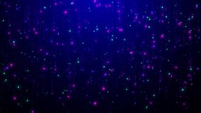 L'animation brillante de particules ressemble aux étoiles filantes ou à la pluie sur le fond bleu illustration libre de droits
