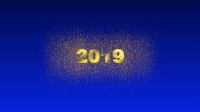 L'animation conceptuelle de nouvelle année, de beaux feux d'artifice apparaissent à partir de 2019, canal alpha banque de vidéos