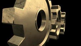 l'animation 3D de l'or tournant embraye sur un fond noir Alpha Channel illustration stock