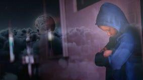 L'animation de Digital de la position inquiétée de garçon avec des bras a croisé banque de vidéos