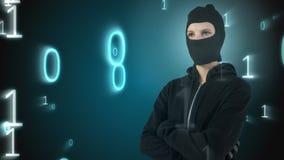 L'animation de Digital de la position de pirate informatique avec des bras a croisé banque de vidéos