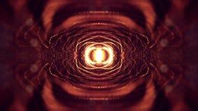 l'animation de la boucle 3d comme fond de la science-fiction des particules rougeoyantes avec la profondeur du champ et le bokeh