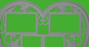 L'animation du rouge tournant en baisse miroite dans la forme des coeurs Fond d'écran vert illustration de vecteur