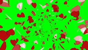 L'animation du rouge tournant miroite dans la forme des coeurs se déplaçant du centre illustration stock