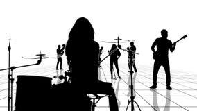 L'animation générée par ordinateur d'une grille noire et blanche avec des personnes de musicien silhouette le déplacement vers l' illustration de vecteur