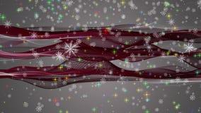 L'animation merveilleuse de Noël avec le déplacement ondule + des flocons de neige + des étoiles, 4096x2304 la boucle 4K clips vidéos