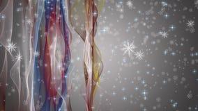 L'animation merveilleuse de Noël avec le déplacement ondule + des flocons de neige + des étoiles, 4096x2304 la boucle 4K banque de vidéos