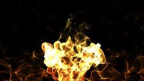 L'animazione astratta senza cuciture della combustione alla moda di fonte del fuoco con la scintilla della fiamma nel nero ha iso illustrazione vettoriale