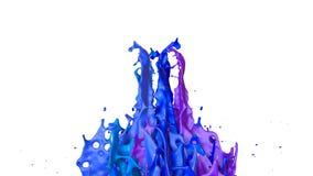 l'animazione 3d di pittura spruzza su un altoparlante musicale quella musica del gioco 3d spruzza di liquido Dipinga il rimbalzo  illustrazione di stock