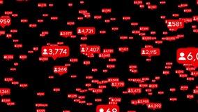 L'animazione dei seguaci sociali di media ricambia muoversi a caso, fondo nero royalty illustrazione gratis
