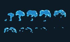 L'animazione del fx di effetto speciale dell'acqua della sgocciolatura incornicia lo strato di Sprite Fotografie Stock
