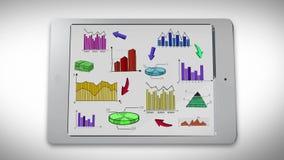 L'animazione dell'affare, la vendita e le informazioni variopinte finanziarie di statistica scarabocchiano quale il grafico del g