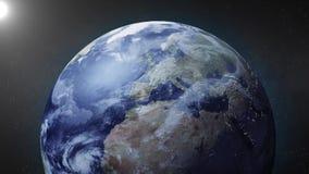 L'animazione della terra zumma sul polo nord illustrazione di stock