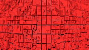 l'animazione di ciclaggio senza cuciture 4k 3d di un rosso astratto blocca il fondo illustrazione di stock
