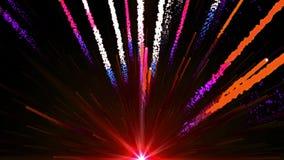 L'animazione senza cuciture del bolide variopinto astratto della luce rossa ed i fuochi d'artificio che sparano nel cielo e con l illustrazione vettoriale