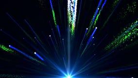 L'animazione senza cuciture di luce blu variopinta astratta ed i fuochi d'artificio che sparano nel cielo e con la particella bri illustrazione vettoriale