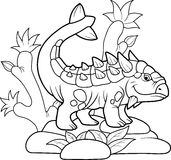 L'Ankylosaurus drôle a fait une promenade Image stock