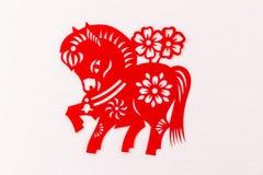 L'année chinoise de la papier-coupe traditionnelle de cheval Photos libres de droits