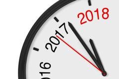 L'année 2018 s'approche Signe 2018 avec une horloge renderi 3D Image libre de droits